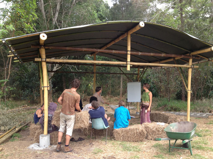 Bamboo classroom in the forest at Djanbung Gardens