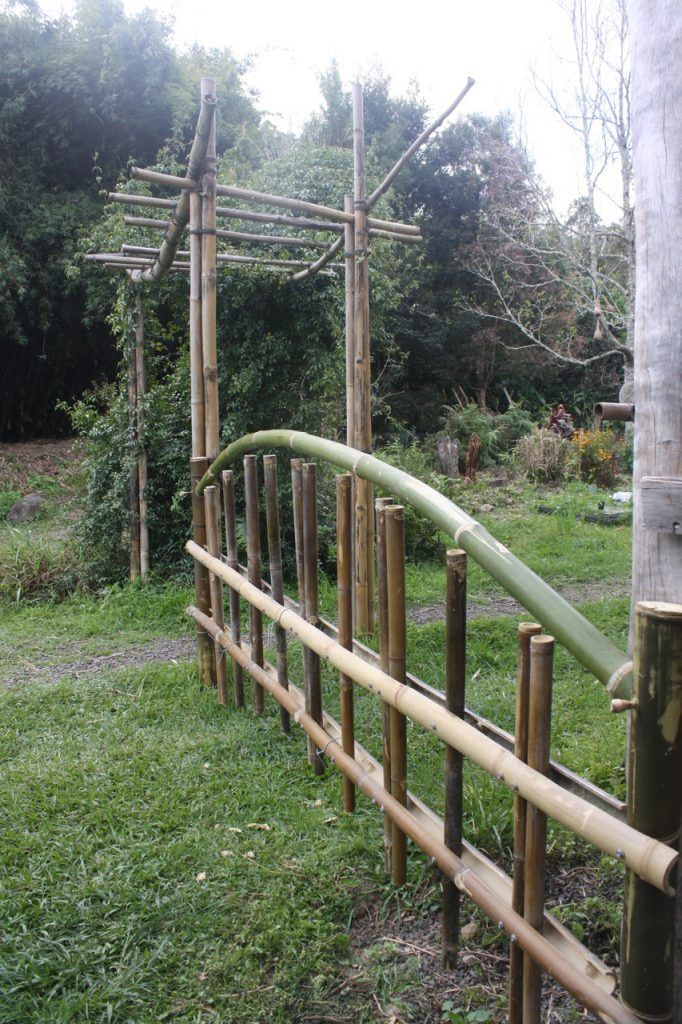 Bamboo fence and arbour at Djanbung