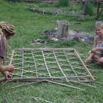 Weaving bamboo lattice panels