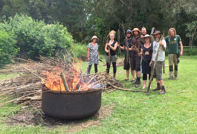 Mini Moxham biochar kiln in operation at Biochar workshop, Djanbung Gardens with Dolph Cooke