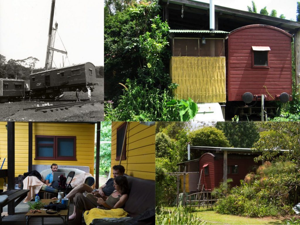 Images of the railway carriages at Djanbung Gardens