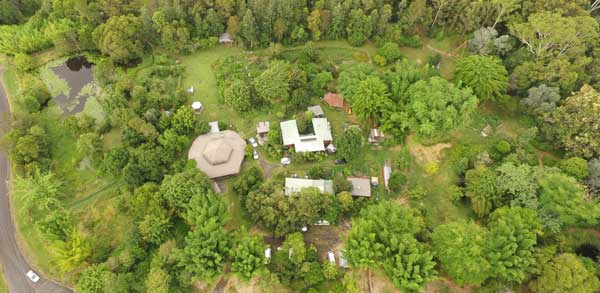 Aerial photo of Djanbung Gardens by Guy Stewart