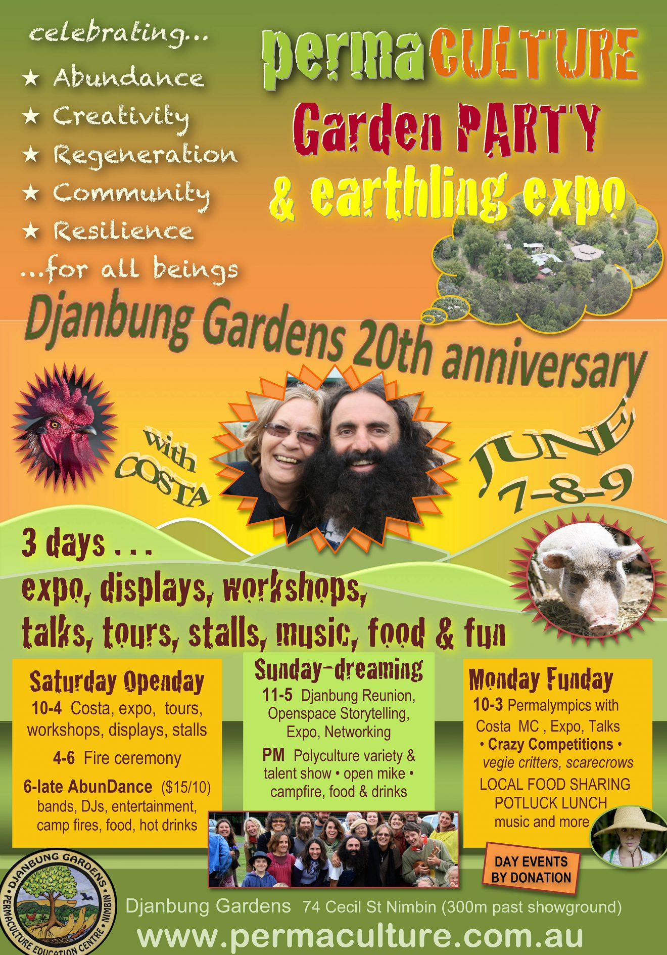 Djanbung 20th Anniversary Celebration - Garden Party, Earthling Expo & 3 days of events.