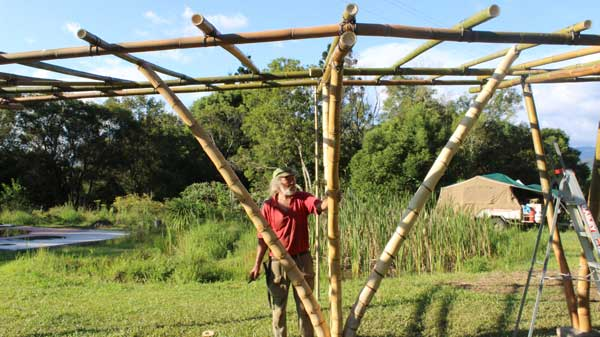 Rob Swain during bamboo construction course at Djanbung Gardens, 2015