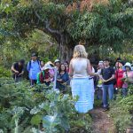 Jude Fanton taking the tour of the Seed Savers gardens in Byron Bay