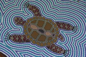 Freshwater turtle - detail from Djanbung Dreaming mural by Gilbert Laurie