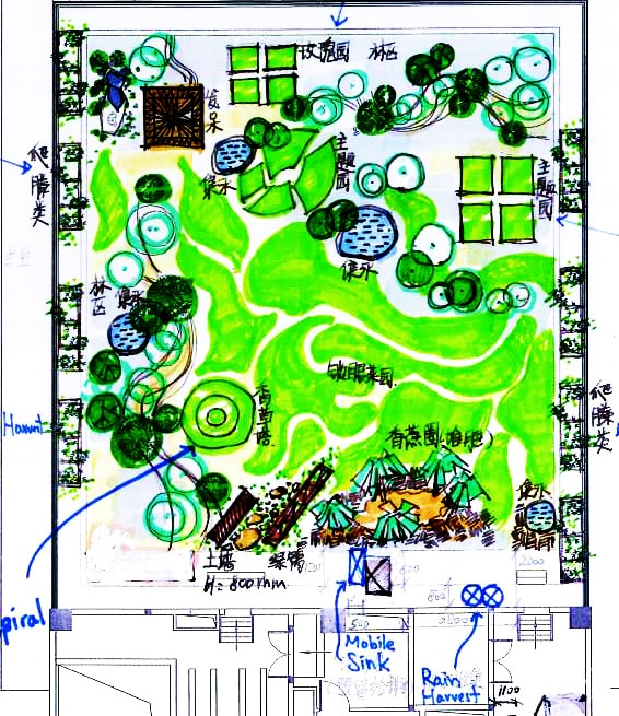 Permaculture design for the office rooftop by Taihua staff PDC graduates